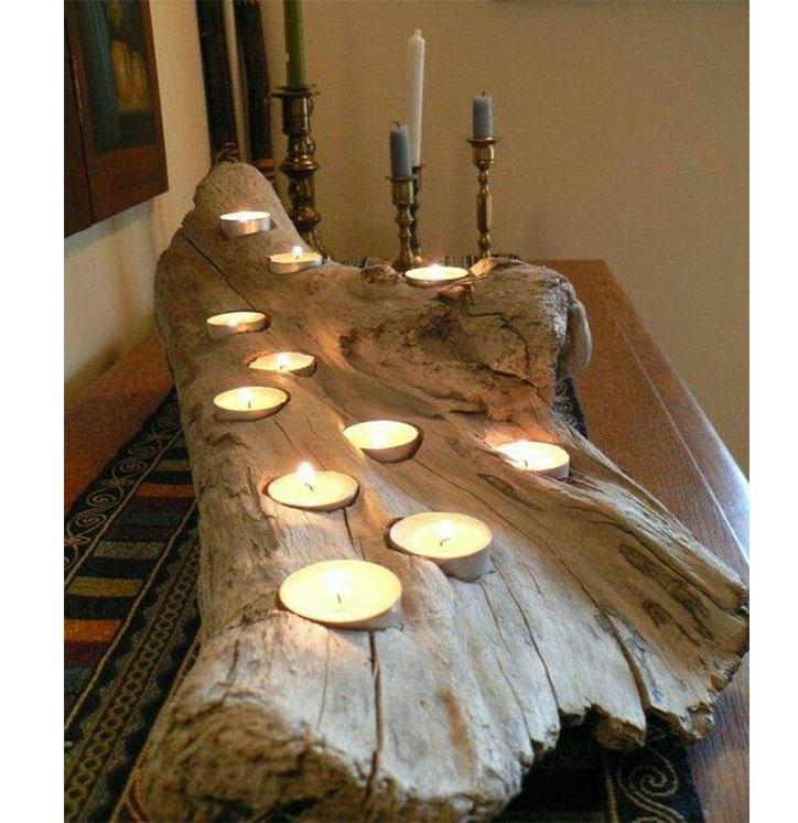 جا شمعی طرح رستیک تنه ی درخت