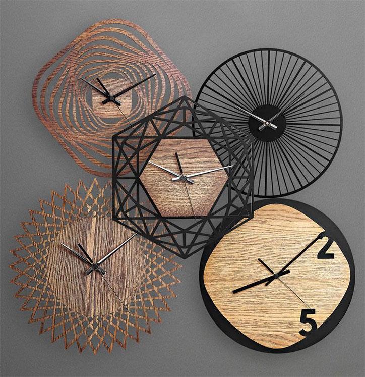 ساعت چوبی خلاقانه