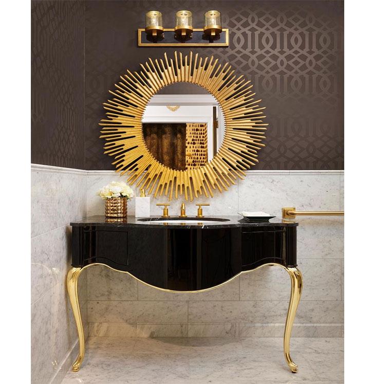 آینه و کنسول  و روشویی با دو کشو کلاسیک